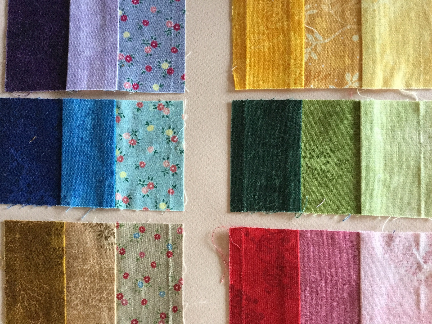 printed textile colour swatches - complimentary and value